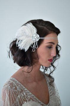 Silver Flapper Headband Feather Flapper Headpiece Bridal by danani