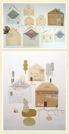 Sweet House Art out of used envelopes: perfect for my Eco-Art class! Atelier Theme, Paper Art, Paper Crafts, Art Postal, Ecole Art, Envelope Art, Origami, Recycled Art, Mail Art
