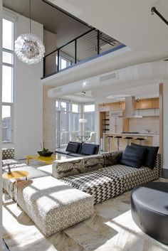 THIS IS OUR FAVORITE SOFA Modular Sofa to divide space. FORMA Design, Inc - Penthouse Duplex at The Metropole
