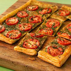 Tomato Pesto Tart ~ AP Flour • ½ of a 17.3oz pkg Pepperidge Farm® Puff Pastry Sheets (1 sheet) • ¼C Pesto • 2 Plum tomatoes • ½C shredded Parmesan • 2T fresh Basil