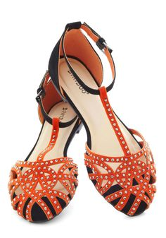 Concerted Effort Sandal - Orange, Silver, Solid, Flat, Black, Studs, Casual