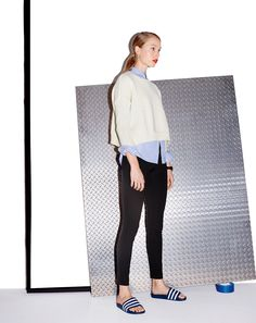 AUG '14 Style Guide: J.Crew women's Demylee™ giselle sweater, Pixie pant and Adidas adilette slides.