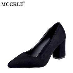 MCCKLE Female Slip On Party Pointed Toe Chunky Heel Flock High Heels Ladies Fashion Black Pumps Women's Casual Plus Size Shoes #Black high heels http://www.ku-ki-shop.com/shop/black-high-heels/mcckle-female-slip-on-party-pointed-toe-chunky-heel-flock-high-heels-ladies-fashion-black-pumps-women-s-casual-plus-size-shoes/