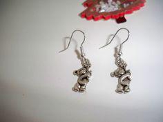 Lovely Hand-Made Teddy bears+Flower Earrings in Tibetan Silver