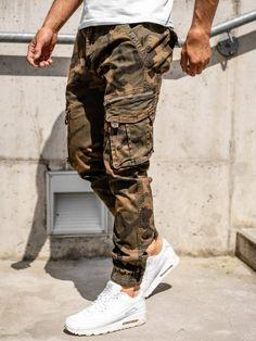 Pantaloni cargo maro cu curea bărbați Bolf CT67015