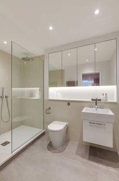36 Ideas Bath Room Lighting Shower Vanities For 2019 Bathroom Mirror With Shelf, Downstairs Bathroom, Bathroom Layout, Small Bathroom, Floor Mirror, Tile Floor, Bathroom Closet, Bathroom Ideas, Bad Inspiration