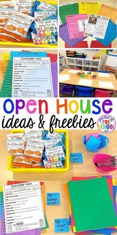 Open house ideas, hacks, & freebies for preschool, pre-k, and kindergarten. Plus some first day of school printables too. #preschool #prek #openhouse Open House Activities, Preschool Open Houses, Preschool Classroom Themes, Classroom Routines, Preschool At Home, Kids Learning Activities, Classroom Fun, Kindergarten Open House Ideas, Notes To Parents