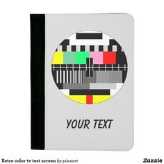 Retro color tv test screen padfolio