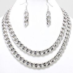 Double Layer Tier Necklace Set (Silver)