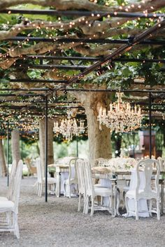 Napa Valley garden wedding decor with chandeliers and draping lights: http://www.stylemepretty.com/2016/09/02/napa-valley-garden-party-small-wedding/ Photography: Jana Williams - http://jana-williams.com/