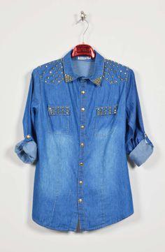 Πουκάμισο Τζιν με Τρουκς Denim Button Up, Button Up Shirts, Boutique Stores, Tops, Women, Fashion, Moda, Fashion Styles, Clothing Boutiques