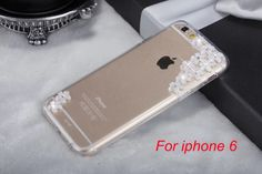 Fashion Sakura Flowers Crystal Rhinestone Case for iphone 6 6 plus Transparent Clear Rubber TPU Bling Case