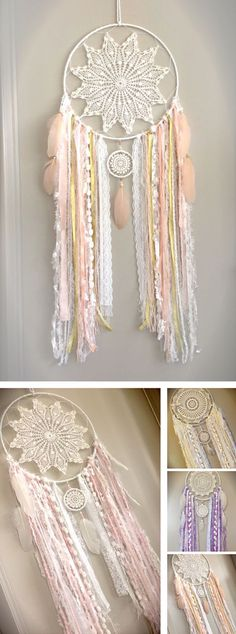 Beautiful Custom Made Shabby Chic Dreamcatcher, Baby Nursery Dreamcatcher, Shabby Decor, Girls Bedroom, Nursery Decor