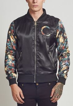 Criminal Damage Jacket - Blosson Reversible Bomber Multi - BTJ109727BLK
