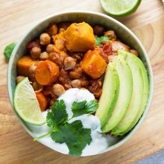 Slow Cooker Smoky Sweet Potato and Chickpea Chili with Lime.  Cooks 8-10 hours so it is ready when you get home from work!