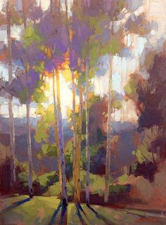 His Time - Morning light deep in the Boulder Mountains - Oil on canvas - David Mensing Fine Art Landscape Art, Landscape Paintings, Landscapes, Wow Art, Paintings I Love, Tree Art, Painting Inspiration, Watercolor Art, Modern Art