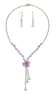 Jewelry Design - Single-Strand Necklace and Earring Set with Acrylic Component, Swarovski Crystal and Cool Frost Resin Beads™ - Fire Mountain Gems and Beads