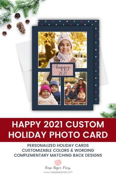 Share 2021  holiday greetings with modern polka dots holiday photo cards. Need to add more pictures or share a detailed message? Add a complementary custom back upgrade. We design, personalize, and professionally print your holiday cards for you. Shop Holiday Cards today.