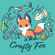 What a crafty, little critter! Get the blue Crafty Fox t-shirt only at TeeTurtle! Exclusive graphic designs on super soft cotton tees. Cute Fox Drawing, Cute Cartoon Drawings, Cute Animal Drawings, Kawaii Drawings, Fox Cartoon Drawing, Anime Animals, Cute Animals, Fuchs Baby, Crafty Fox