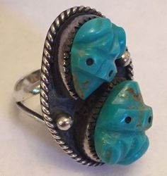 Old ZUNI STERLING SILVER HAND CARVED TURQUOISE FROG FETISH RING Leekya Deyuse? in Jewelry & Watches, Ethnic, Regional & Tribal, Native American | eBay