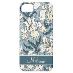 Girly Art Nouveau Teal Cream Floral iPhone5