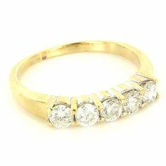 Vintage 14 Karat Yellow Gold Diamond Anniversary Band Ring Fine Estate Jewelry 9 $995