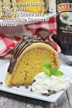 This Irish Cream bundt cake with Baileys glaze and chocolate ganache drizzle takes bundt cake and steps it up a notch. Added flavor of Baileys liqueur infuses each part of this bundt cake making this cake recipe extra special and sure to please. Chocolate Bundt Cake, Chocolate Ganache, Hot Chocolate, Baking Recipes, Cake Recipes, Dessert Recipes, Cake Cookies, Cupcake Cakes, Bundt Cakes