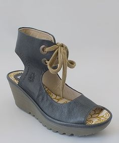 Take a look at the FLY London Indigo Mousse Leather Yaffa Wedge on #zulily today!