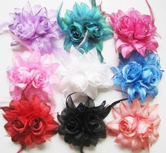 Rose Head Wrist Flower Feather Corsage Hair Clips and Pin Fascinator Headpieces  $3.94 each