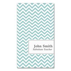Chevron Stripes Substitute Teacher Business Card. Make your own business card with this great design. All you need is to add your info to this template. Click the image to try it out!