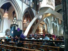 Cardiff University Chamber Choir rehearsing in beautiful Llandaff Cathedral