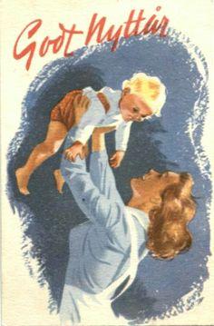 Nyttårskort Jørgen Thorsrud. Mamma/barn. Utg Børreh.& Remen 1678. Stemplet 1948 Christmas Postcards, Christmas Cards, Happy Mothers, Norway, Barn, Painting, Christmas E Cards, Converted Barn, Xmas Cards