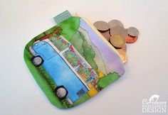 Campervan Coin Purse Handmade Purse Zip Purse Make-up Bag by ceridwenDESIGN http://ift.tt/2pvILvc