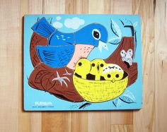 Vintage Playskool Wood Wooden Puzzle Bird Family