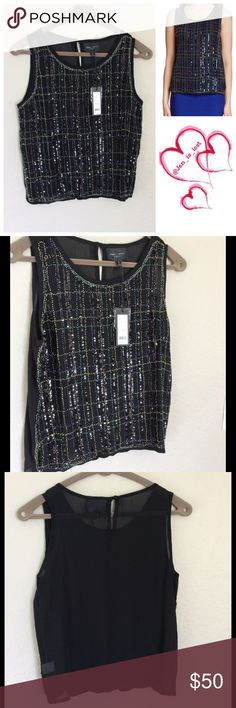 "Romeo & Juliet Couture Sequin Blouse Black Romeo & Juliet Couture Sequin Blouse Black - Scoop neck - Sleeveless - Multicolor beaded and sequin front pattern - Back keyhole detail with button closure - Approx. 24"" length Fiber Content: 100% polyester Romeo & Juliet Couture Tops Blouses"