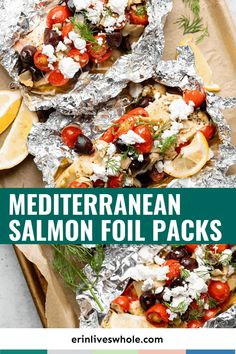 Impress friends and family with these (ridiculously easy) Mediterranean Salmon Foil Packs. Paired with a tomato, olive, and lemon juice mixture, it's the most delicious way to enjoy salmon!