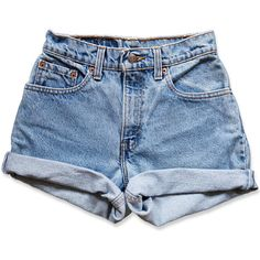 Vintage 90s Levi's Medium Blue Wash High Waisted Rise Cut Offs Cuffed Rolled Jean Denim Shorts – Size 23 / 00 ($49) found on Polyvore