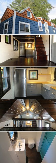 The 36° North by Brevard Tiny House is an 8′ × 30′ tiny house with floor storage, stair storage, and two lofts. The dark wood floors and trim provide a nice contrast to the white walls and touch of color on the doors.