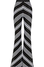 BalmainChevron-patterned knitted flared pants