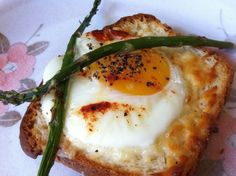 Baked Egg Topped with Asparagus on Toast Recipe - RecipeChart.com