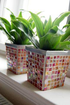 Mosaik - MOSAIK Blumentopf mini *SUNSET* - ein Designerstück von BESTONES bei DaWanda