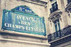 Champs Elysees Sign Paris France 8x10 Print by aroundin80frames, $25.00