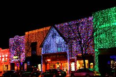In downtown Rochester Hills, Michigan, at  Christmastime the town decorates it's buildings with solid lights. It is such a beautiful sight to behold!