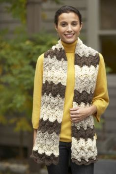 This rippled knit  scarf is wide enough to use as a chunky scarf or shawl during anytime of the year.