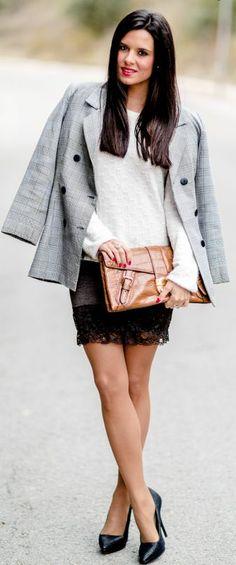 DIY Falda lencera Crimenes de la Moda - Lace skirt - Vintage blazer - Bolso Ralph Lauren handbag