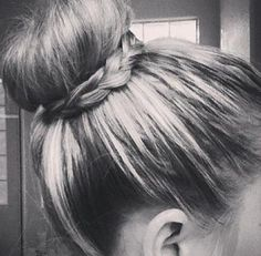love the braid around the traditional sock bun