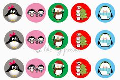 Cute HOLIDAY Penguin bottlecap images