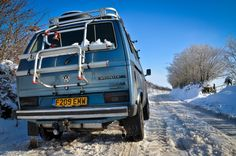 Cool camping in a VW Camper Van Syncros 4 by 4 off-road vehicle.