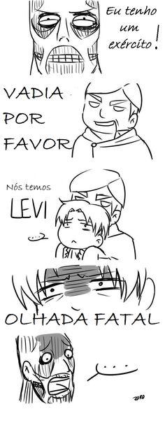 Attack on Titan (Shingeki no Kyojin) - Levi Otaku Anime, Anime Meme, Manga Anime, Memes Pt, Aot Memes, Funny Memes, Hilarious, Levi X Eren, Levi Ackerman