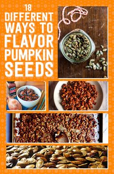 18 Ways To Make Pumpkin Seeds Delicious - - Sweet, spicy, boozy, and beyond. These creative seasonings up the game on pumpkin seeds and pre-shelled pepitas alike! Flavored Pumpkin Seeds, Pumpkin Seed Recipes, Roasted Pumpkin Seeds, Roast Pumpkin, Pumpkin Spice, Making Pumpkin Seeds, Seasoned Pumpkin Seeds, Fall Recipes, Recipes